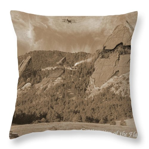 Boulder Throw Pillow featuring the photograph Construction Of The Flatirons - 1931 - Sepia by Jerry McElroy