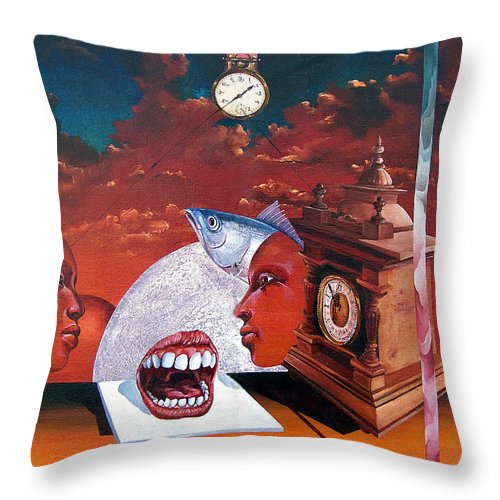 Otto+rapp Surrealism Surreal Fantasy Time Clocks Watch Consumption Throw Pillow featuring the painting Consumption Of Time by Otto Rapp