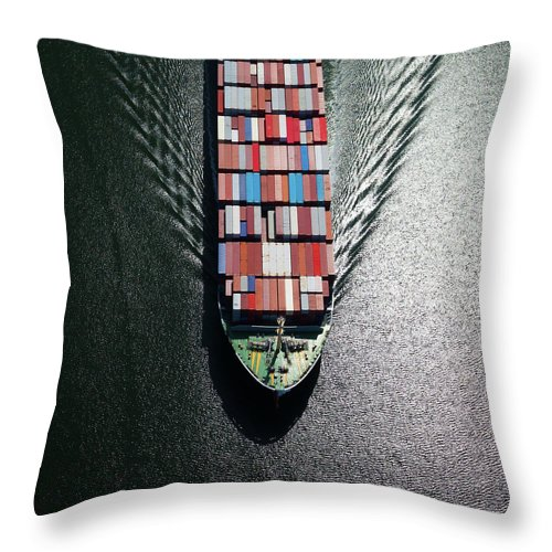 Freight Transportation Throw Pillow featuring the photograph Container Ship Bow by Dan prat
