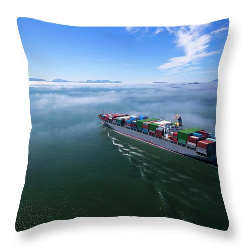Freight Transportation Throw Pillow featuring the photograph Container Ship by Dan prat