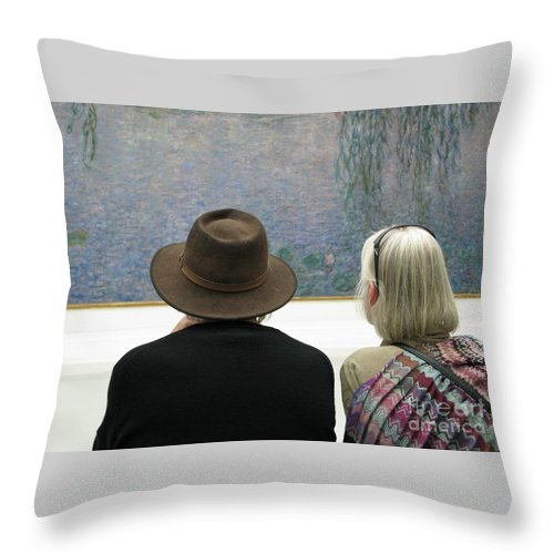 People Throw Pillow featuring the photograph Contemplating Art by Ann Horn