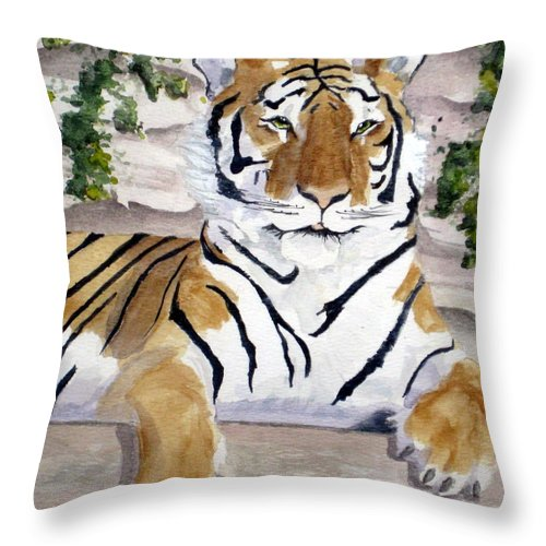 Tiger Throw Pillow featuring the painting Contemplating Dinner by Julia RIETZ