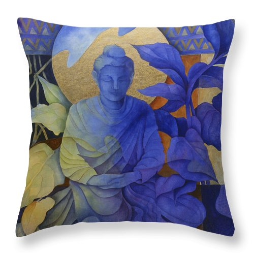 Buddha Throw Pillow featuring the painting Contemplation - Buddha Meditates by Susanne Clark