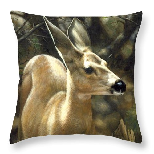 Deer Throw Pillow featuring the painting Mule Deer - Contemplation by Crista Forest