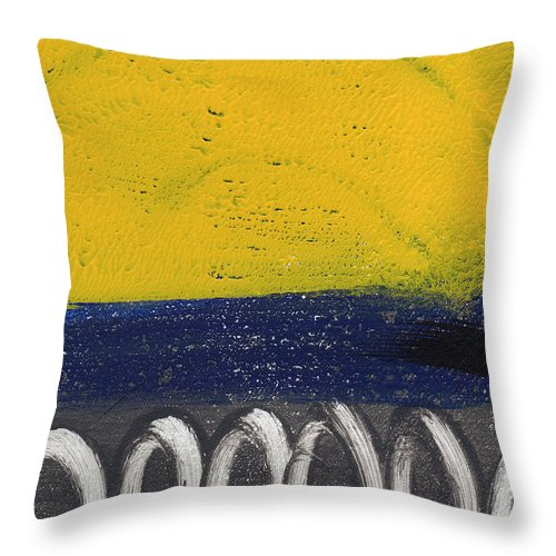 Abstract Throw Pillow featuring the painting Contemplation by Linda Woods