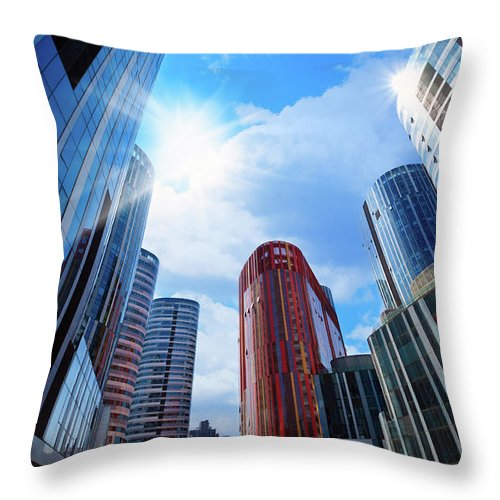 Chinese Culture Throw Pillow featuring the photograph Contemporary Building by Ithinksky