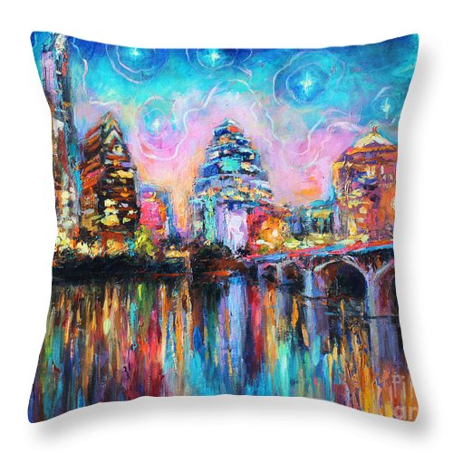 Downtown Austin Art Throw Pillow featuring the painting Contemporary Downtown Austin Art Painting Night Skyline Cityscape Painting Texas by Svetlana Novikova