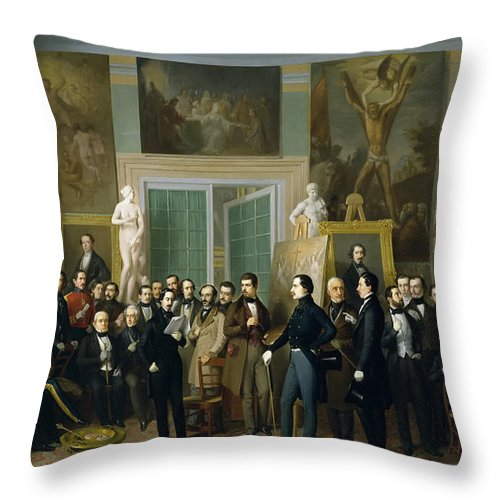 Antonio Maria Esquivel Throw Pillow featuring the painting Contemporary Poets. A Reading By Zorilla In The Painters Studio by Antonio Maria Esquivel