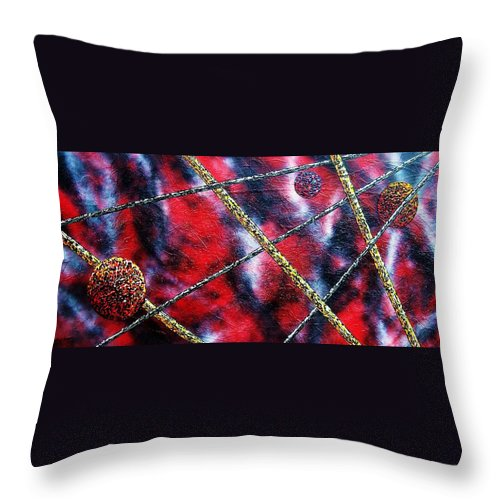 Abstract Throw Pillow featuring the painting Continuum Iv Red Sky by Micah Guenther