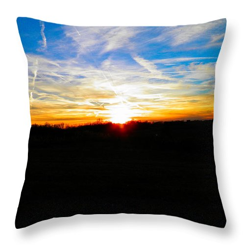 Sunset Throw Pillow featuring the photograph Contrail Sunset by Nick Kirby
