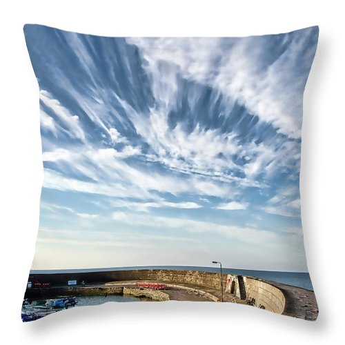 Contrails Throw Pillow featuring the photograph Contrails At Lyme Regis Harbour by Susie Peek