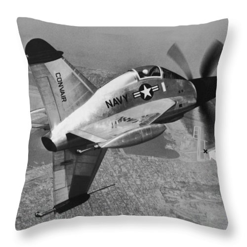 1950's Throw Pillow featuring the photograph Convair's Xfy-1, pogo by Underwood Archives