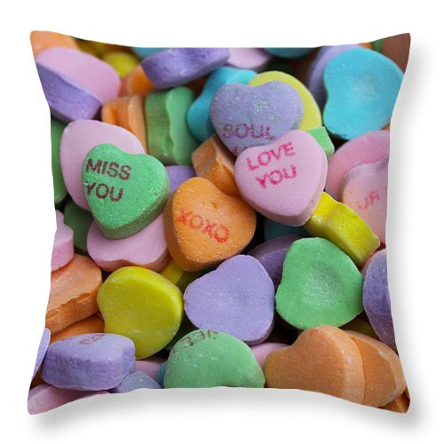 Valentines Throw Pillow featuring the photograph Conversational Hearts by Diana Haronis