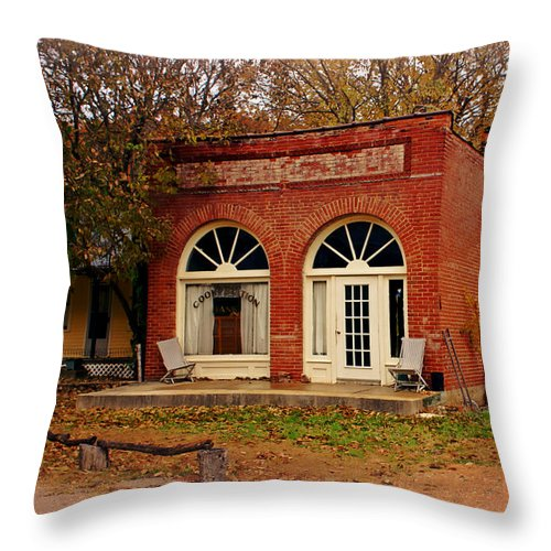 Cook Station Throw Pillow featuring the photograph Cook Station Bank by Marty Koch