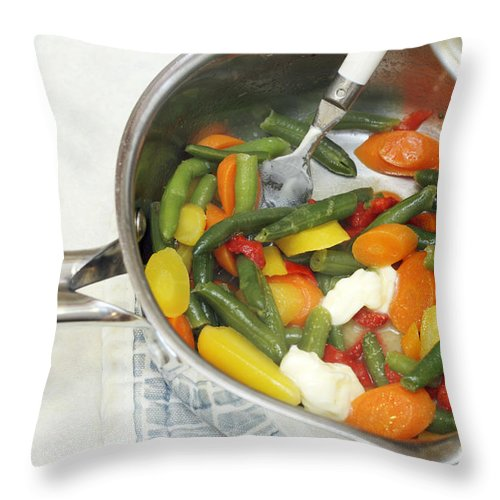 Food Throw Pillow featuring the photograph Cooked Mixed Vegetables by Lee Serenethos