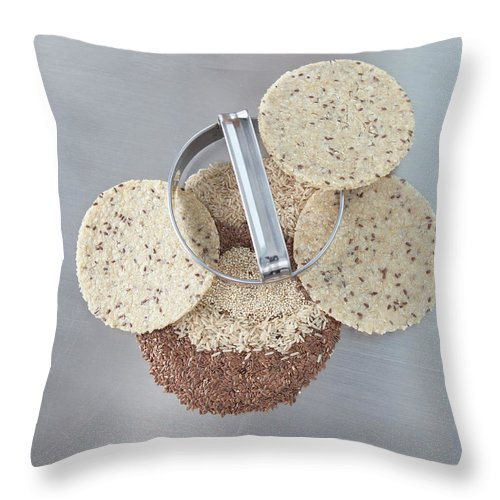 Flax Seed Throw Pillow featuring the photograph Cookie Cutter With Dough Rounds by Laurie Castelli