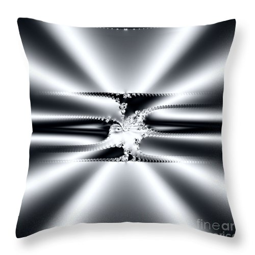 Digital Throw Pillow featuring the digital art Cool Clean Stainless . Fractal by Renee Trenholm