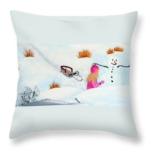 Snowman Throw Pillow featuring the painting Cool Winter Friend - Snowman - Fun by Barbara Griffin