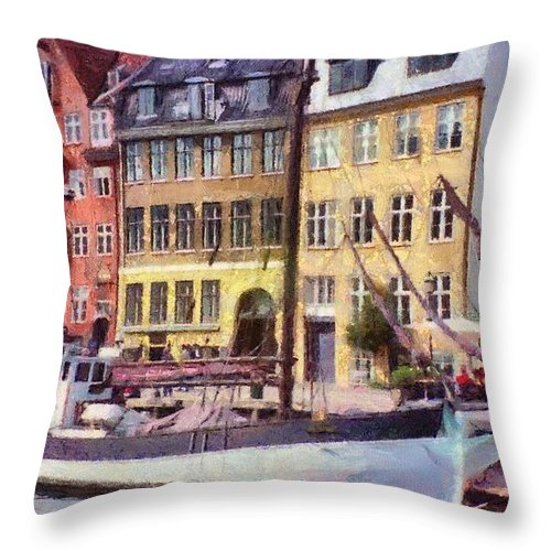 Scandinavia Throw Pillow featuring the painting Copenhagen by Jeffrey Kolker