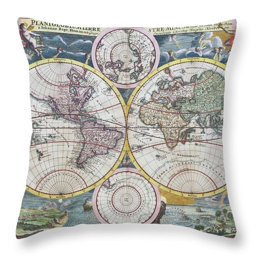Engraving Throw Pillow featuring the digital art Copper Engraving From 1720 Showing The by Grafissimo