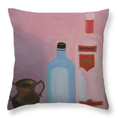 Still Life Throw Pillow featuring the painting Copper Jug With Glass Bottles by Vandna Mehta