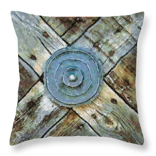 Southwest Throw Pillow featuring the photograph Copper Medalion On Weathered Gate-new Mexico by Michael Flood