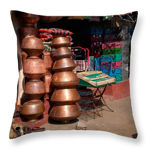 India Throw Pillow featuring the digital art Copper Pots by Carol Ailles