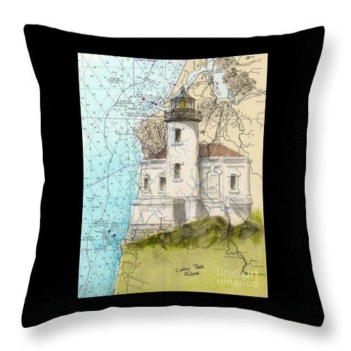 Coquille Throw Pillow featuring the painting Coquille River Lighthouse Or Nautical Chart Map Art Cathy Peek by Cathy Peek