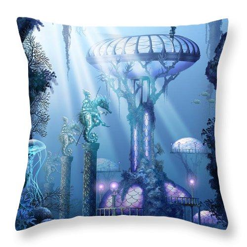 Ciro Marchetti Throw Pillow featuring the digital art Coral City  by Ciro Marchetti