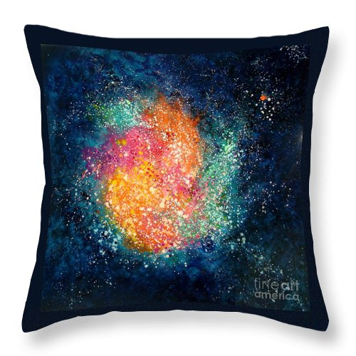 Nebula Throw Pillow featuring the painting Coral Nebula by Freddie Lieberman