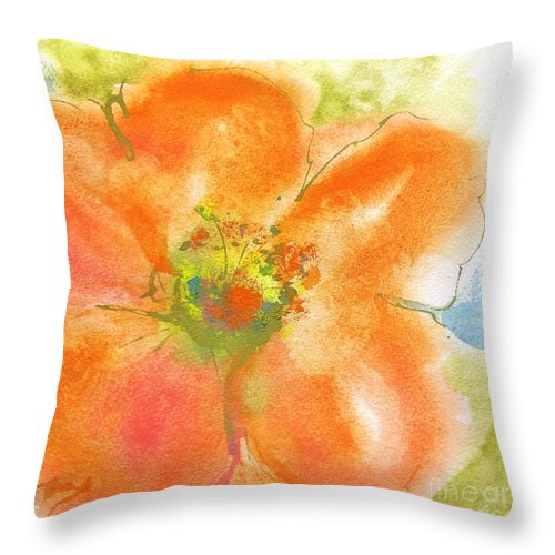 Original Watercolors Throw Pillow featuring the painting Coral Poppy II by Chris Paschke