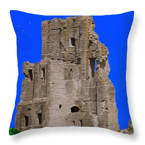 Corfe Throw Pillow featuring the painting Corfe Castle Ruins by Bruce Nutting
