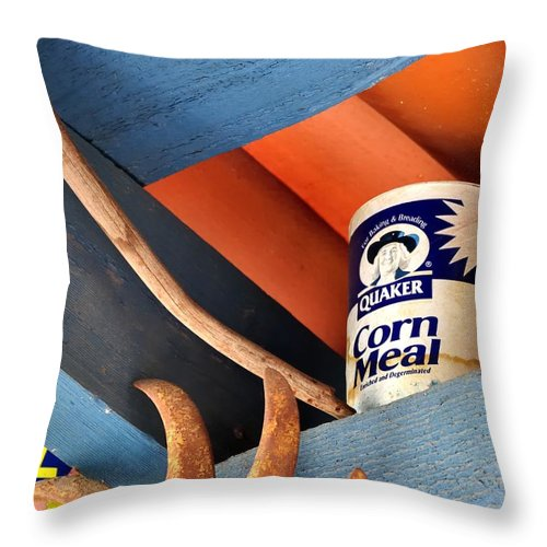 Tubac Throw Pillow featuring the photograph Corn Meal And Ritz 31906 by Jerry Sodorff