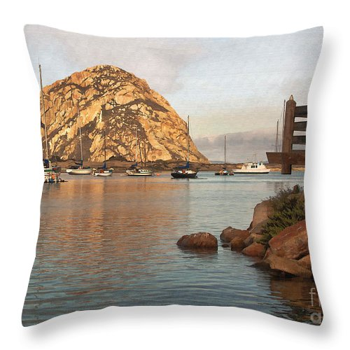 Morro Rock Throw Pillow featuring the digital art Corner Harbor by Sharon Foster