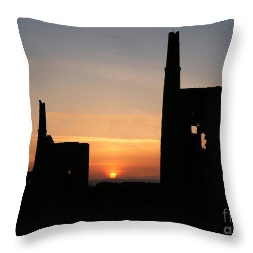 Cornish Throw Pillow featuring the photograph Cornish Tin Mines by John Keates