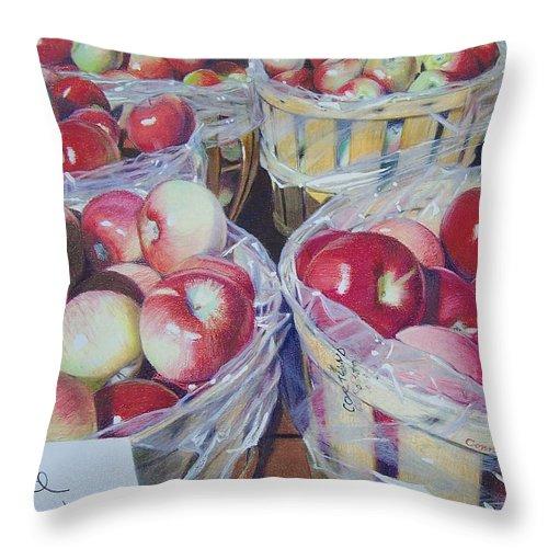Apple Throw Pillow featuring the mixed media Cortland Apples by Constance Drescher