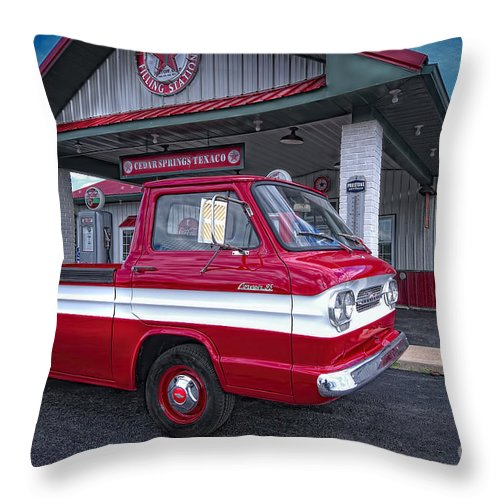 Chevrolet Corvair 95 Rampside Throw Pillow featuring the photograph Corvair 95 Rampside by David B Kawchak Custom Classic Photography