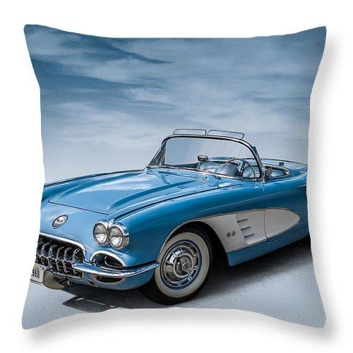 Corvette Throw Pillow featuring the digital art Corvette Blues by Douglas Pittman
