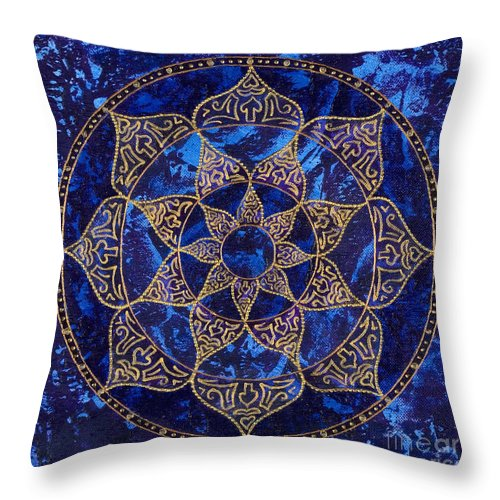 Mandala Throw Pillow featuring the painting Cosmic Blue Lotus by Charlotte Backman