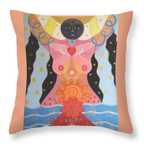 Goddess Throw Pillow featuring the painting Cosmic Carnival I V Aka Creation by Helena Tiainen