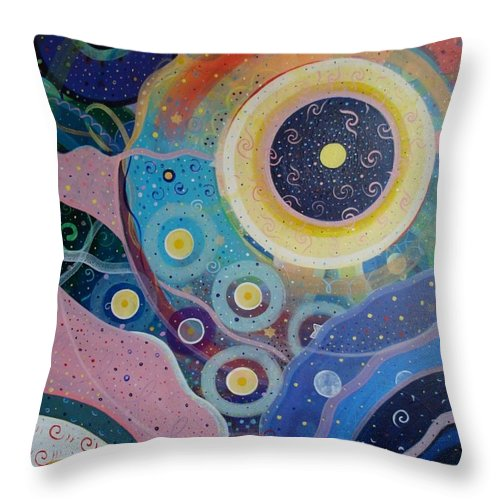 Circles Throw Pillow featuring the painting Cosmic Carnival Vl Aka Circles by Helena Tiainen