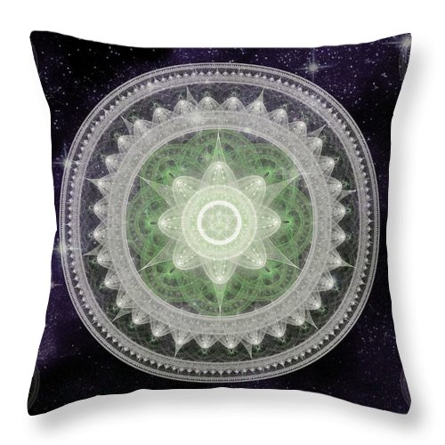 Corporate Throw Pillow featuring the digital art Cosmic Medallions Earth by Shawn Dall