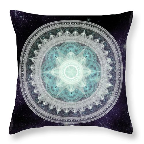 Corporate Throw Pillow featuring the digital art Cosmic Medallions Water by Shawn Dall