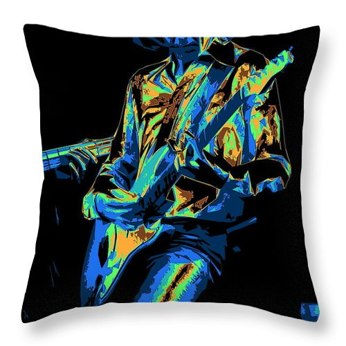 Mick Ralphs Throw Pillow featuring the photograph Cosmic Mick Of Bad Company In 1977 by Ben Upham