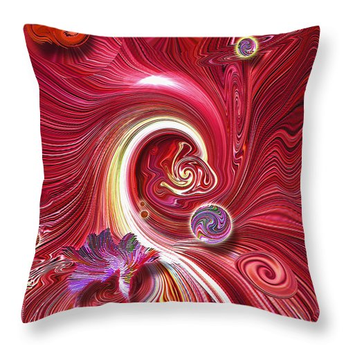 Cosmic Waves Throw Pillow featuring the mixed media Cosmic Waves by Carl Hunter
