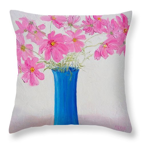 Cosmos Flowers Throw Pillow featuring the painting Cosmos Flowers by Jan Matson