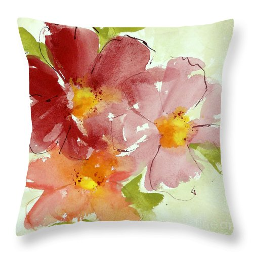 Watercolors Throw Pillow featuring the painting Cosmos II by Chris Paschke
