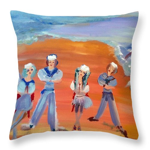 Dance Throw Pillow featuring the painting Cosplay Sailor Dance by Judith Desrosiers