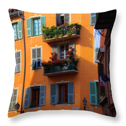 Cote D'azur Throw Pillow featuring the photograph Cote D'azur Alley by Inge Johnsson