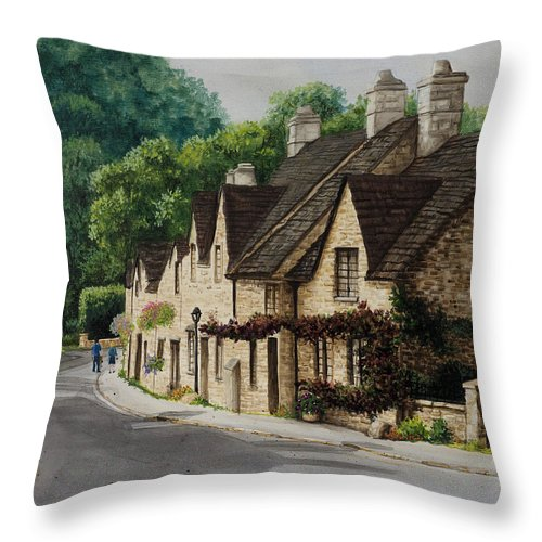 Architecture Throw Pillow featuring the painting Cotswold Street by Mary Palmer